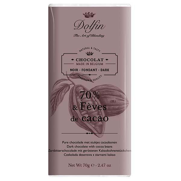 Купить черный шоколад 70% какао с какао-бобами Бельгия Dolfin