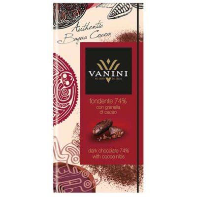 Шоколад 74% какао с какао-бобами Vanini горький купить цена