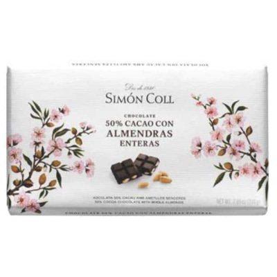 Купить горький темный шоколад Simon Coll 50 с миндалем, цена, 200 г