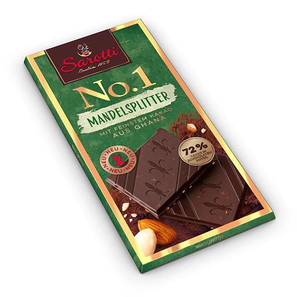 Горький темный шоколад Sarotti с миндалем и содержанием 72% какао,, Германия, 100 г