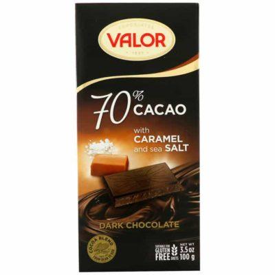 Шоколад соленая карамель Валор / Dark Chocolate Valor 70% Cacao With Caramel and Sea Salt