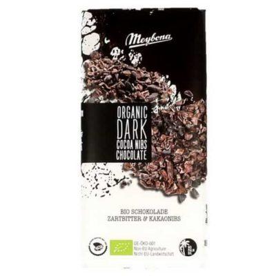 Купить Горький темный шоколад Meybona с какао-бобами 100 г органический / Cocoa nibs dark chcolate