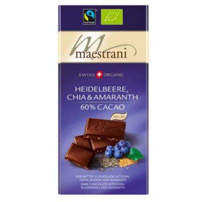 Купить Шоколад черный горький Maestrani с черникой, амарантом и чиа