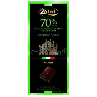 Купить Горький темный шоколад 70% какао Zaini Milano Duomo Италия, 75 г